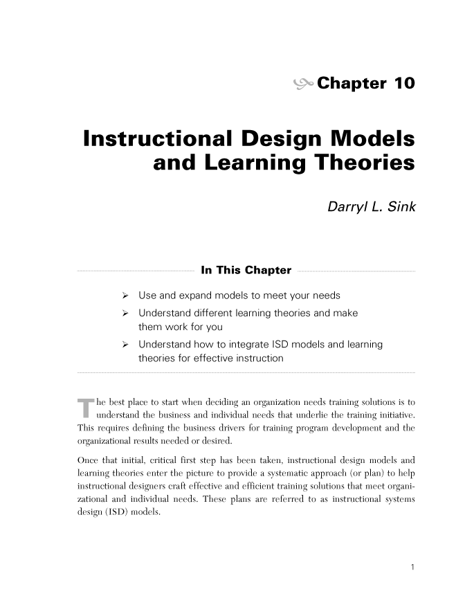Instructional Design Models And Learning Theories By Darryl L. Sink