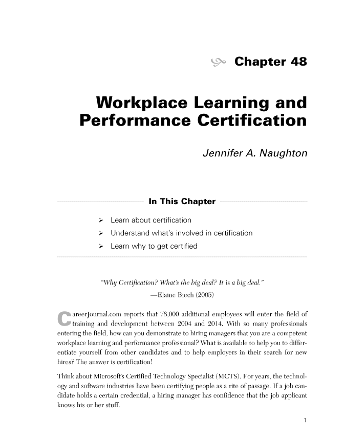 Workplace Learning and Performance Certification by Jennifer A ...